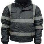 Black-Parka-Jacket-Visibility-Security-Work-Hi-Viz-Waterproof-Coat-