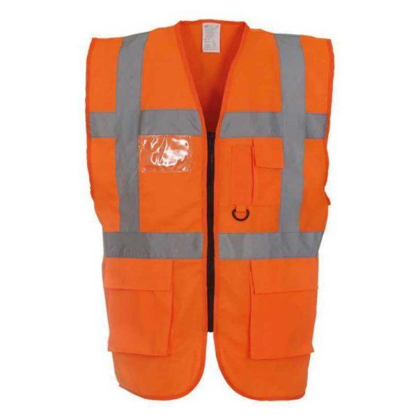Executive-Orange-High-Visibility-Safety-Vests-Hi-Viz-Waistcoat-With-Pockets-and-ID-Holder