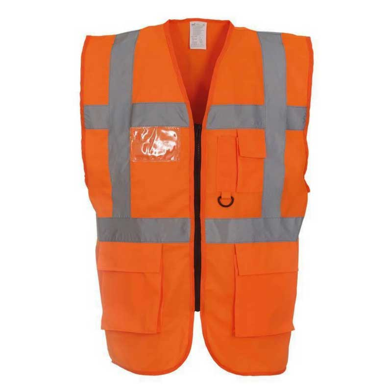 Executive-Orange-High-Visibility-Safety-Vests-Hi-Viz-Waistcoat-With-Pockets-and-ID-Holder