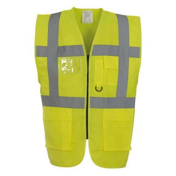 Executive-Yellow-High-Visibility-Safety-Vests-Hi-Viz-Waistcoat-With-Pockets-and-ID-Holder