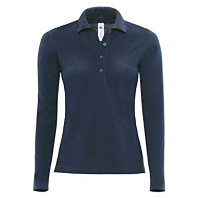 Women's Long Sleeve Polo Shirt Navy